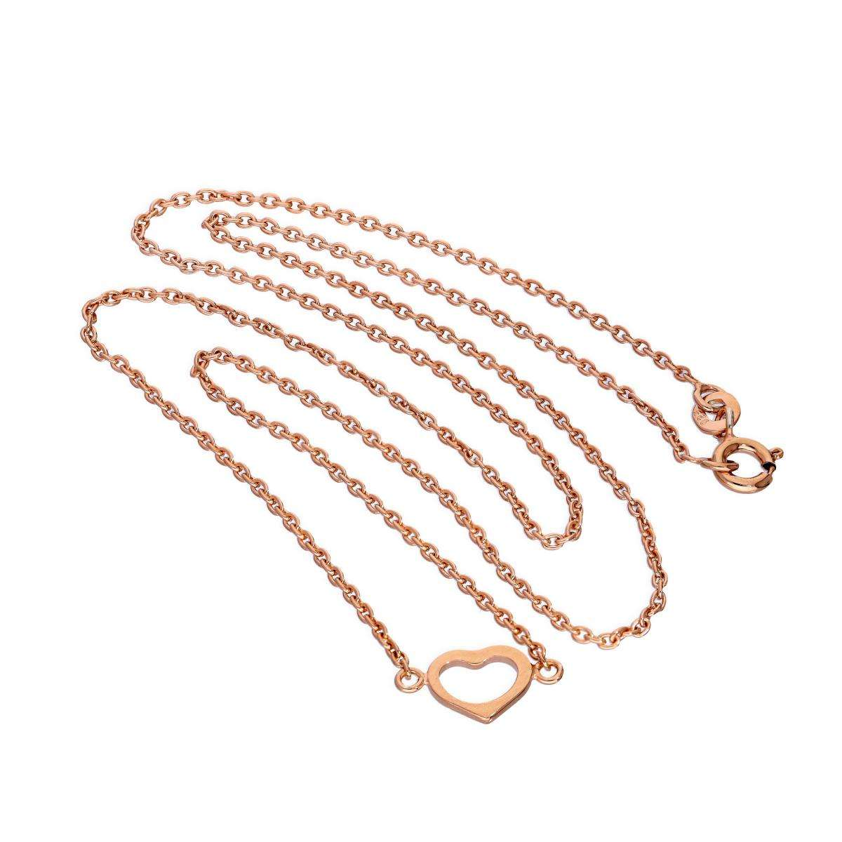 Alterative image for Rose Gold Plated Sterling Silver Heart Pendant on 18 Inch Chain