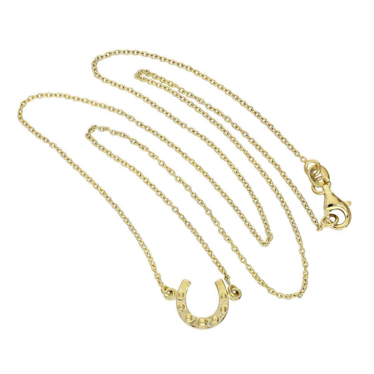 Alterative image for Gold Plated Sterling Silver Lucky Horseshoe Necklace