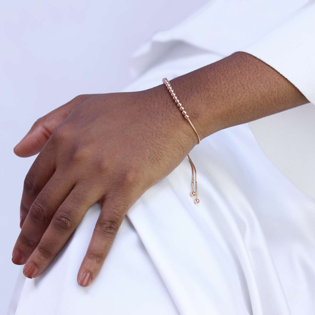 Alterative image for Rose Gold Plated Sterling Silver Adjustable Bead Bracelet