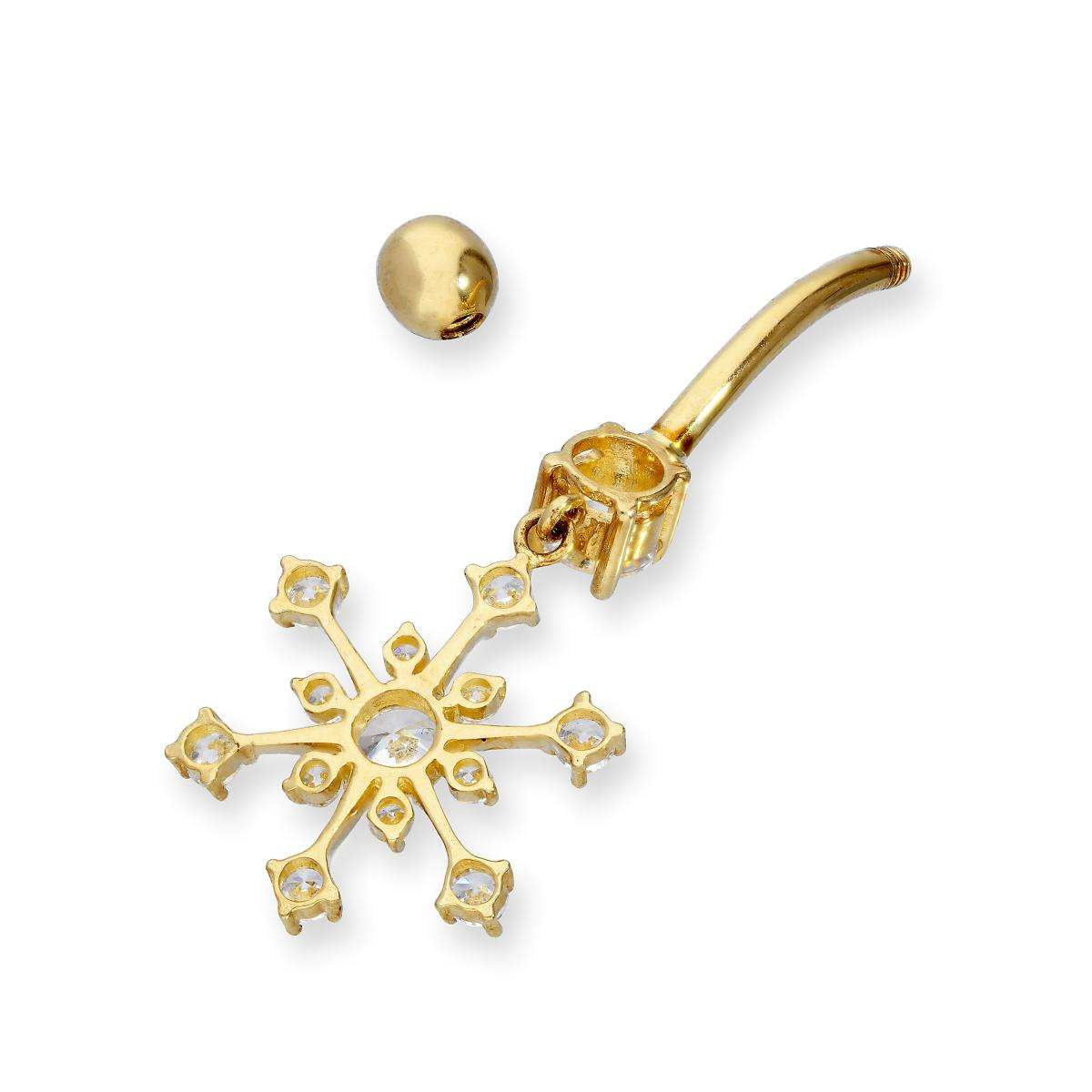 Alterative image for 9ct Gold & CZ Crystal Hanging Snowflake Ball End Belly Bar