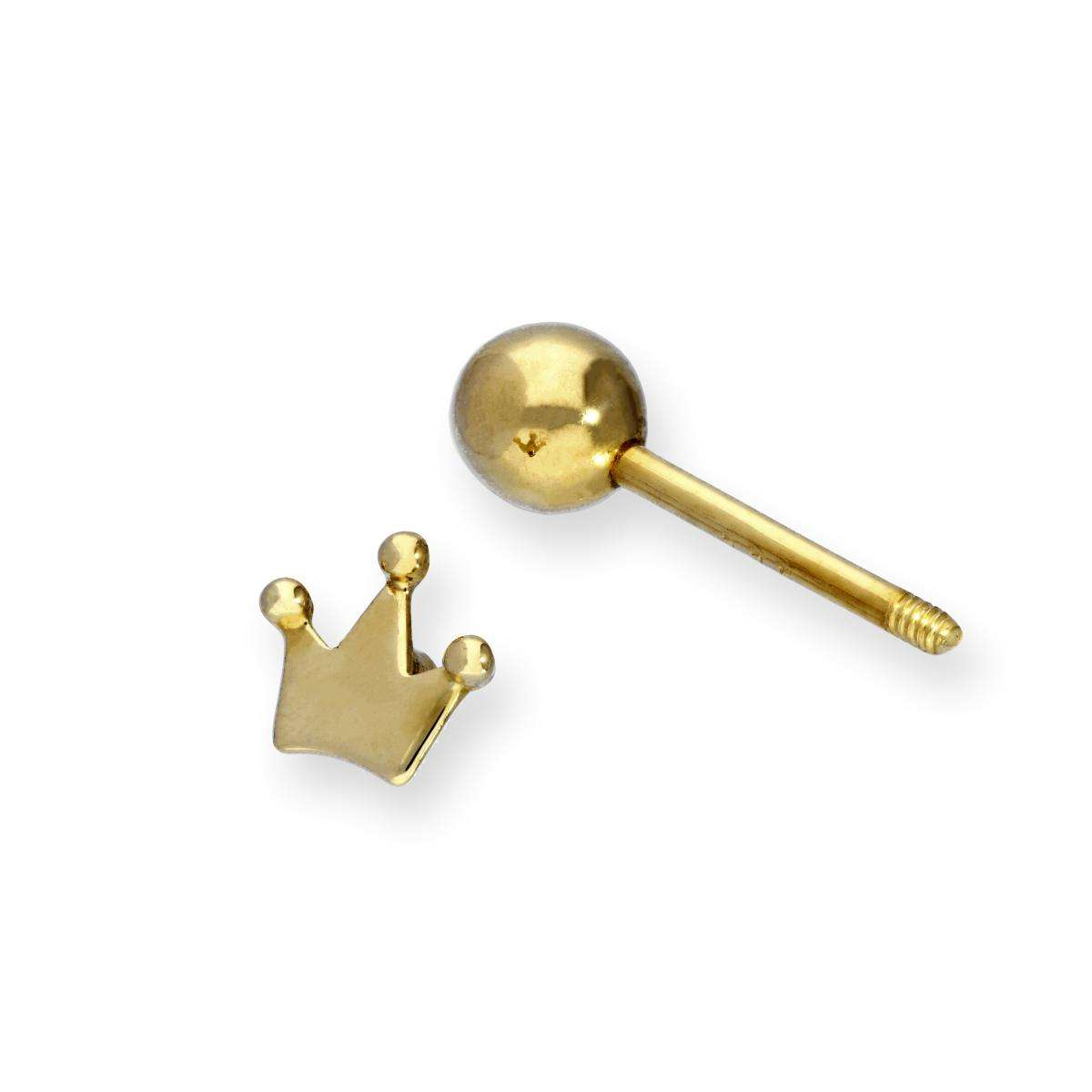 Alterative image for 9ct Gold Royal Crown Tongue Stud