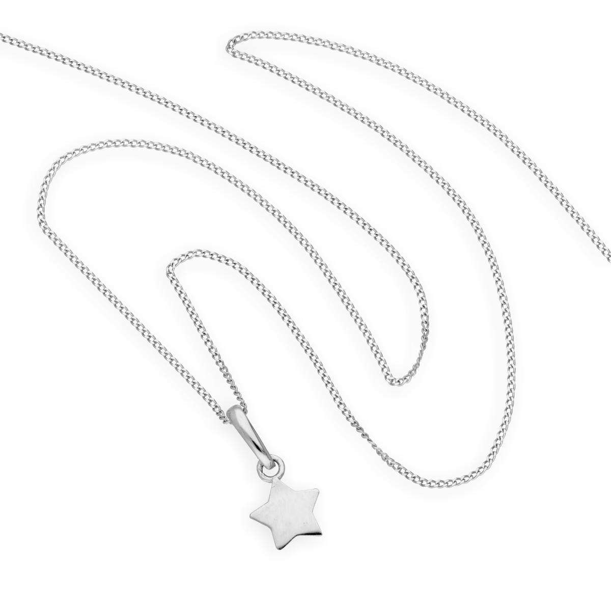 Alterative image for 9ct White Gold Star Pendant Necklace 16 - 20 Inches