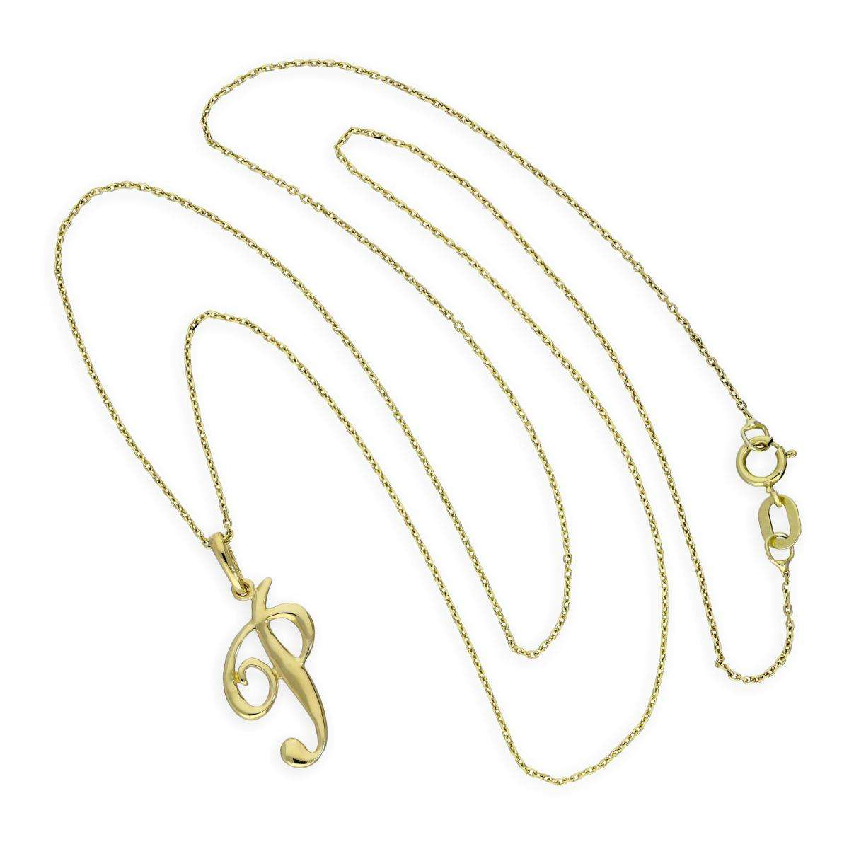 Alterative image for 9ct Gold Fancy Calligraphy Script Letter P Pendant Necklace 16 - 20 Inches