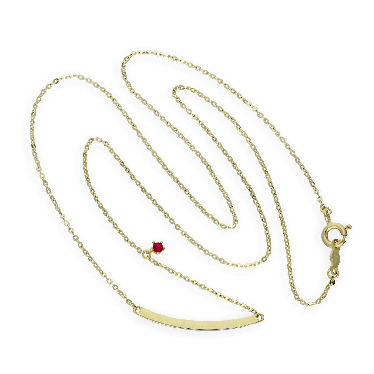 Alterative image for 9ct Gold 18 Inch Chain w Curved Bar & Ruby CZ Crystal
