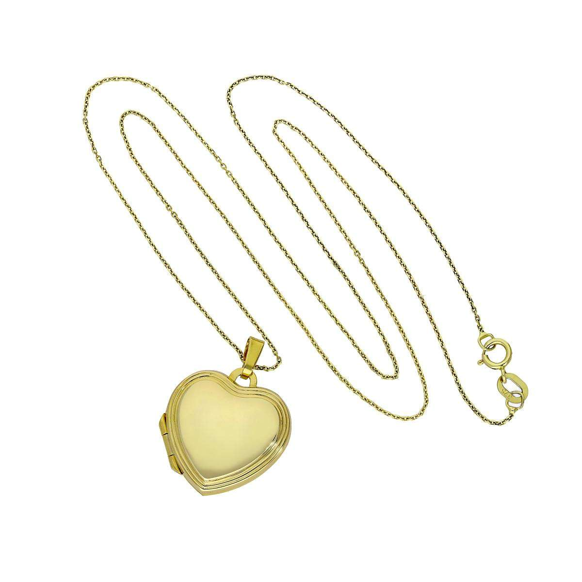 Alterative image for 9ct Gold Engravable Heart Locket with Raised Border on Chain 16 - 20 Inches