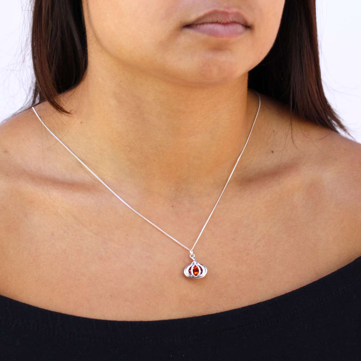 Alterative image for Sterling Silver Crystal Pumpkin Necklace
