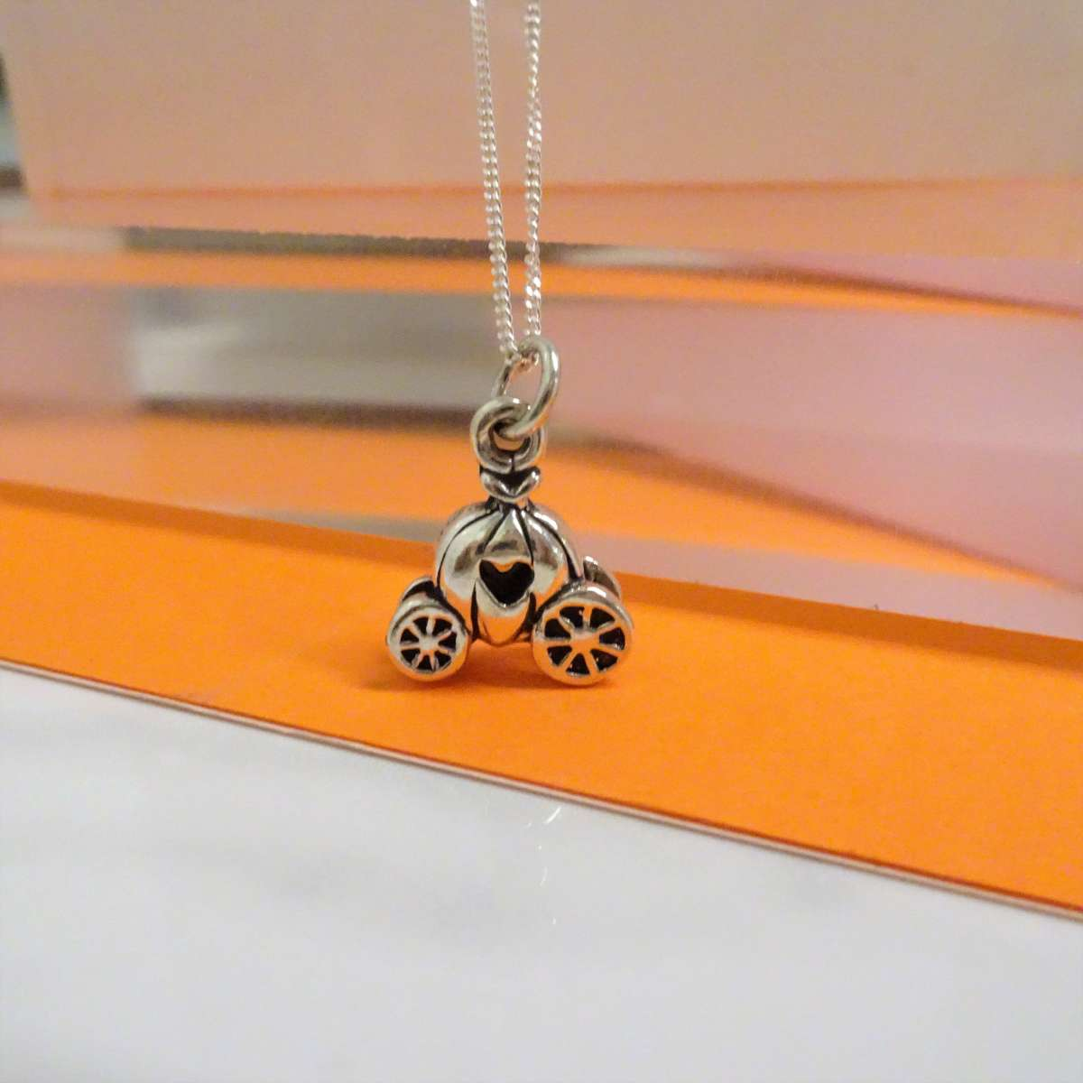Alterative image for Sterling Silver Princess Pumpkin Carriage Necklace