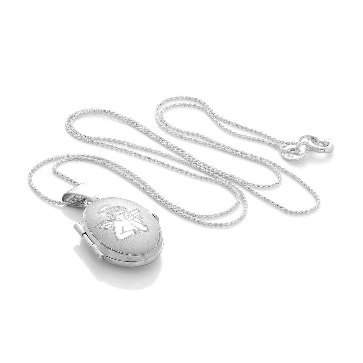 Alterative image for Small Matt Sterling Silver Oval Locket with Angel on Chain