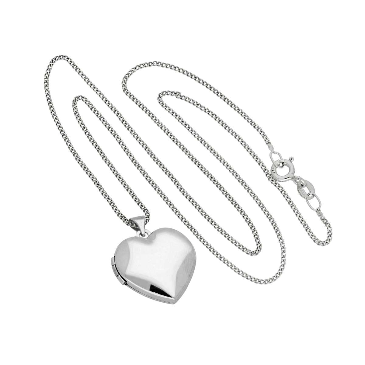 Alterative image for 9ct White Gold Engravable Heart Locket on Chain 16 - 18 Inches