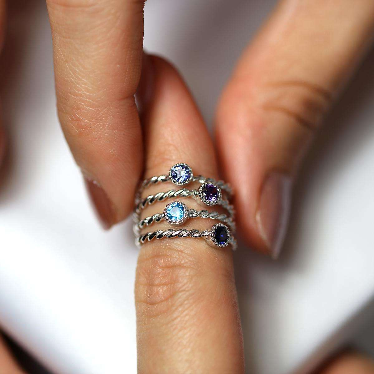 Alterative image for Sterling Silver Purple & Blue Twisted CZ Stacking Rings Set