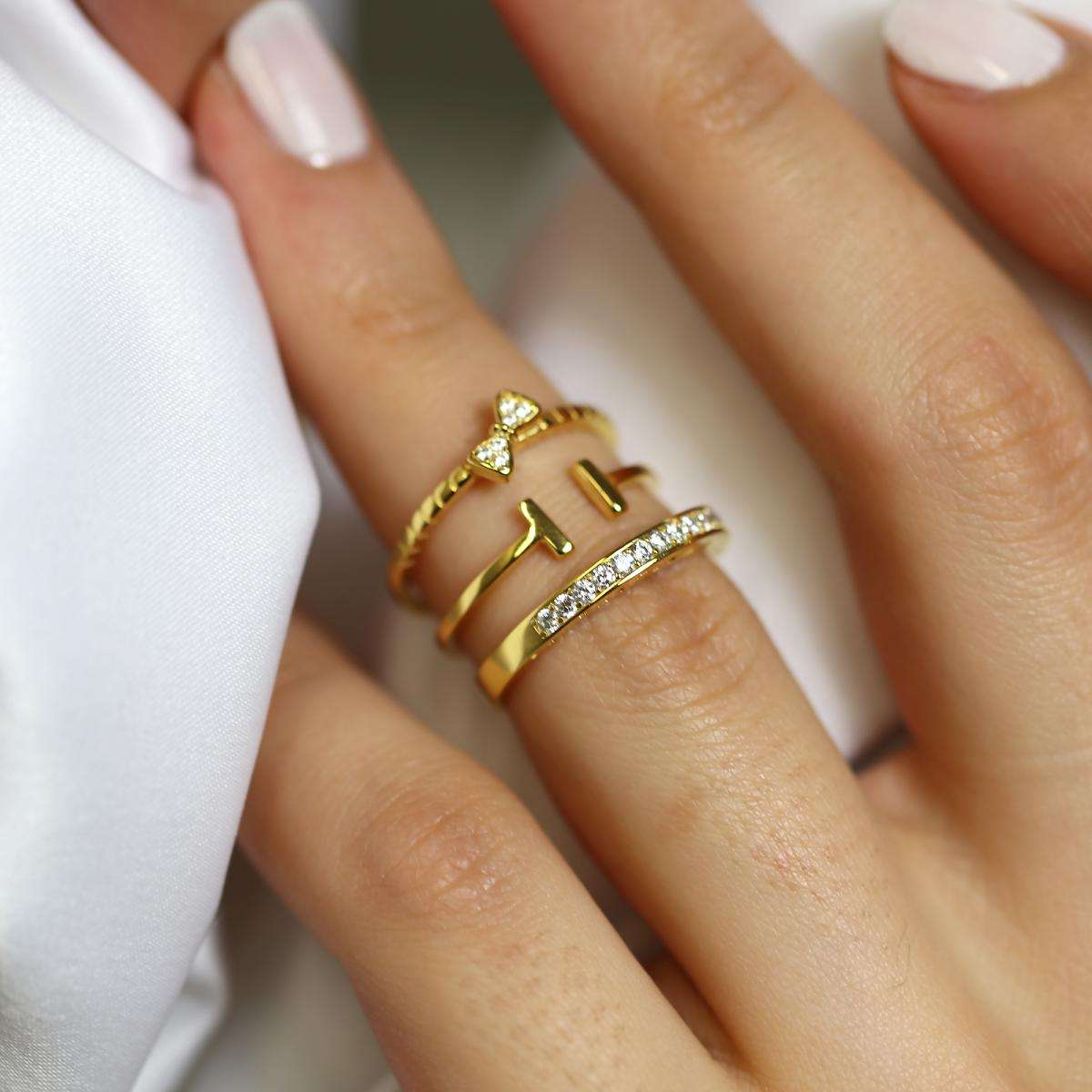 Alterative image for Gold Plated Sterling Silver Bar & CZ Eternity Stacking Ring Set
