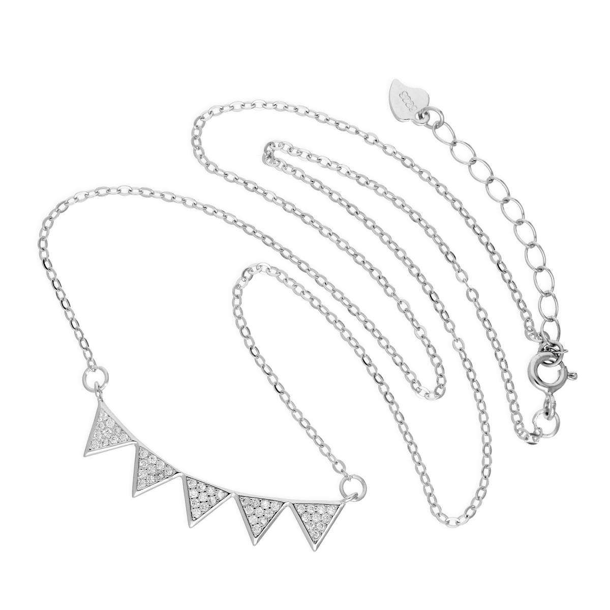 Alterative image for Sterling Silver & Clear CZ Crystal Bunting Necklace