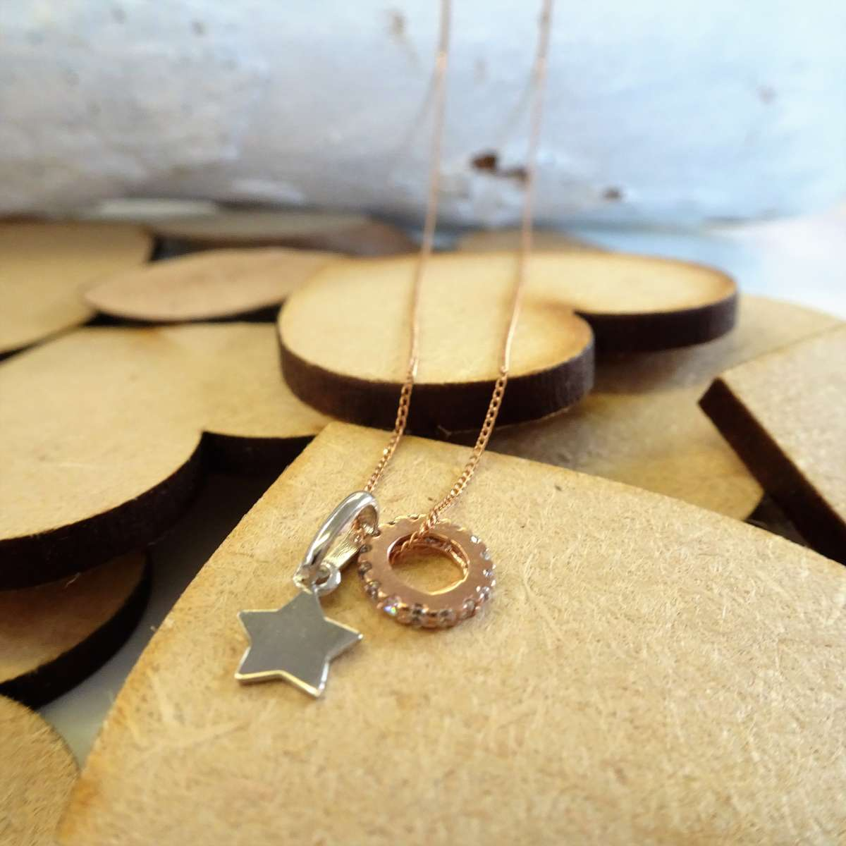 Alterative image for 9ct Gold Star & CZ Wheel Necklace on Diamond Cut Curb Chain