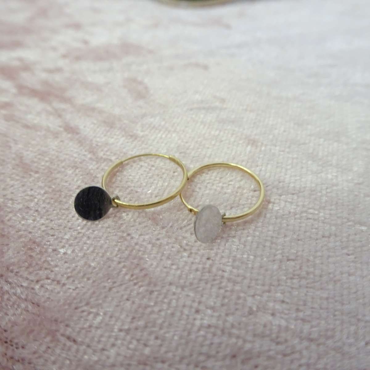 Alterative image for 9ct Gold 10mm Charm Hoop Earrings with Tiny 9ct White Gold Circle Tags