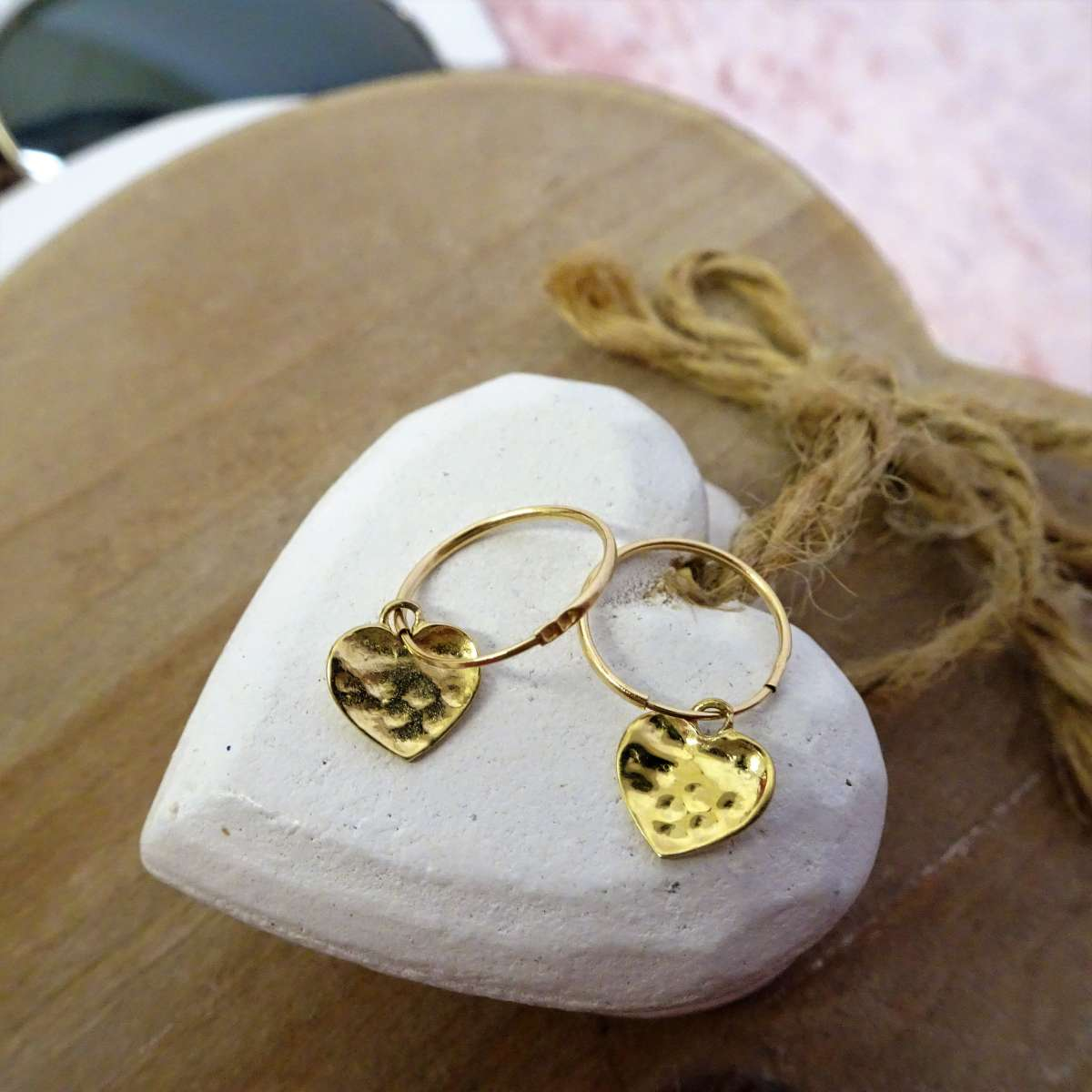Alterative image for 9ct Gold 10mm Charm Hoop Hammered Heart Earrings