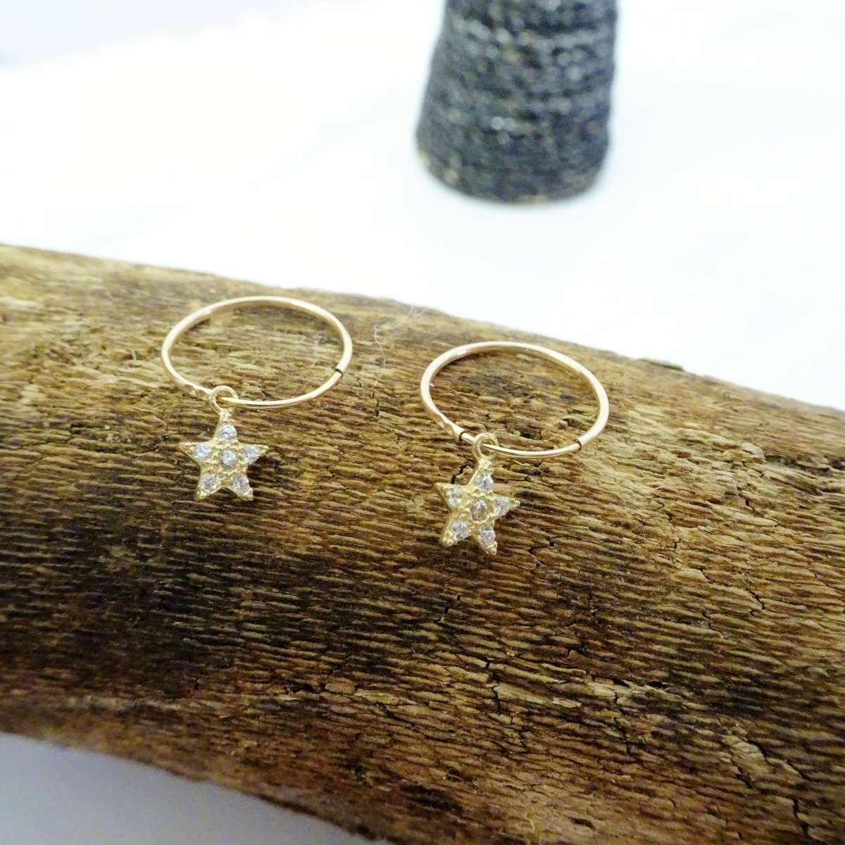 Alterative image for 9ct Gold 10mm Charm Hoop CZ Star Earrings