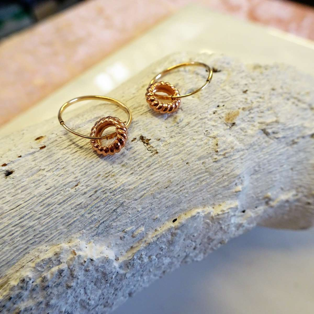 Alterative image for 9ct Gold 10mm Charm Hoop 9ct Rose Gold Karma Circle Earrings