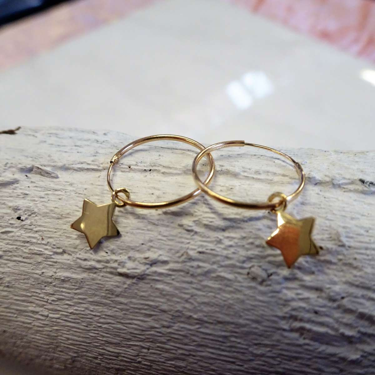 Alterative image for 9ct Gold 13mm Charm Hoop Star Earrings