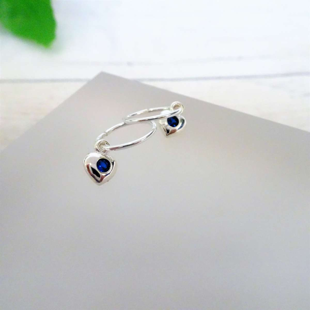 Alterative image for Sterling Silver CZ Crystal Birthstone Heart 10 - 22mm Sleeper Hoop Earrings