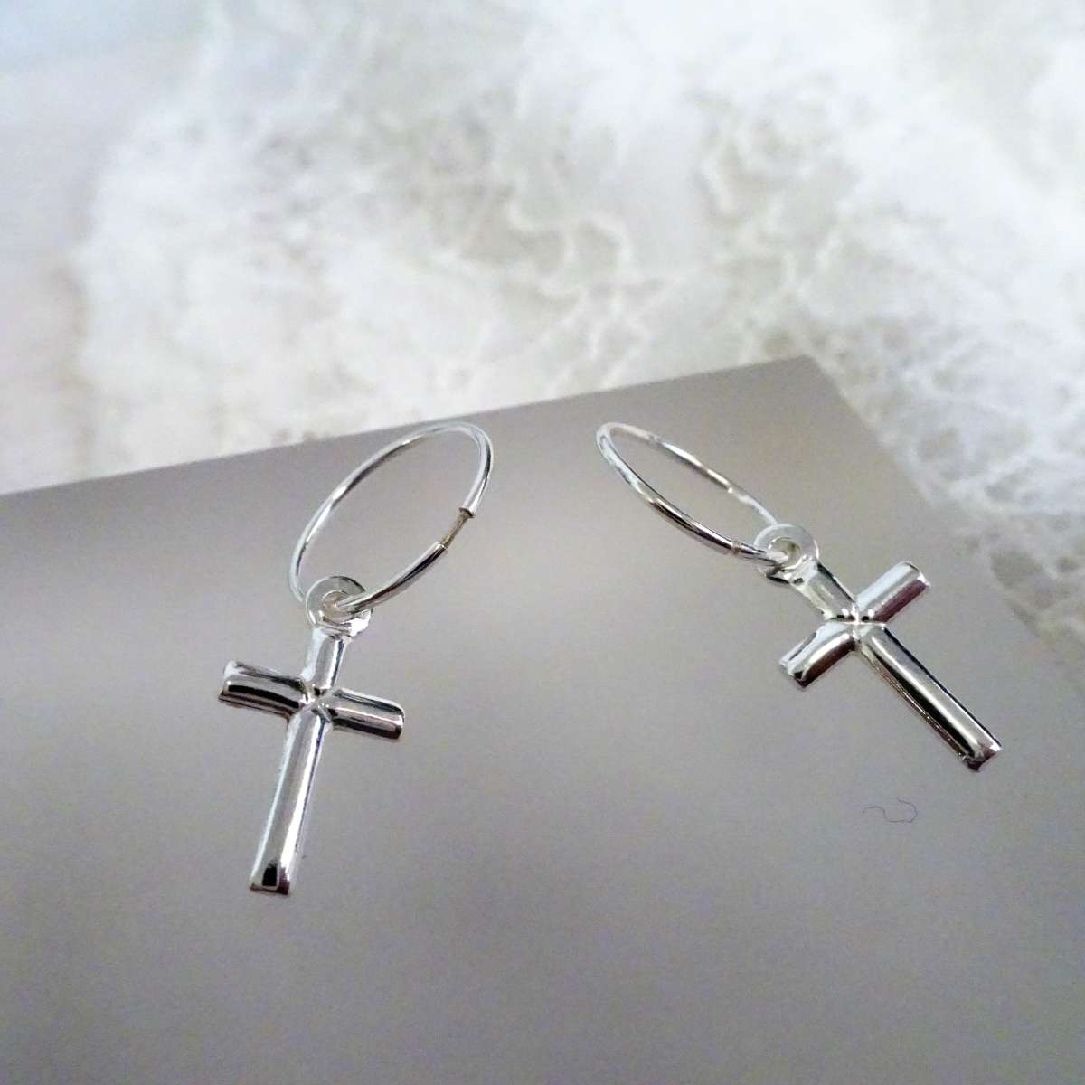 Alterative image for Sterling Silver Plain Cross 12 - 22mm Sleeper Hoop Earrings