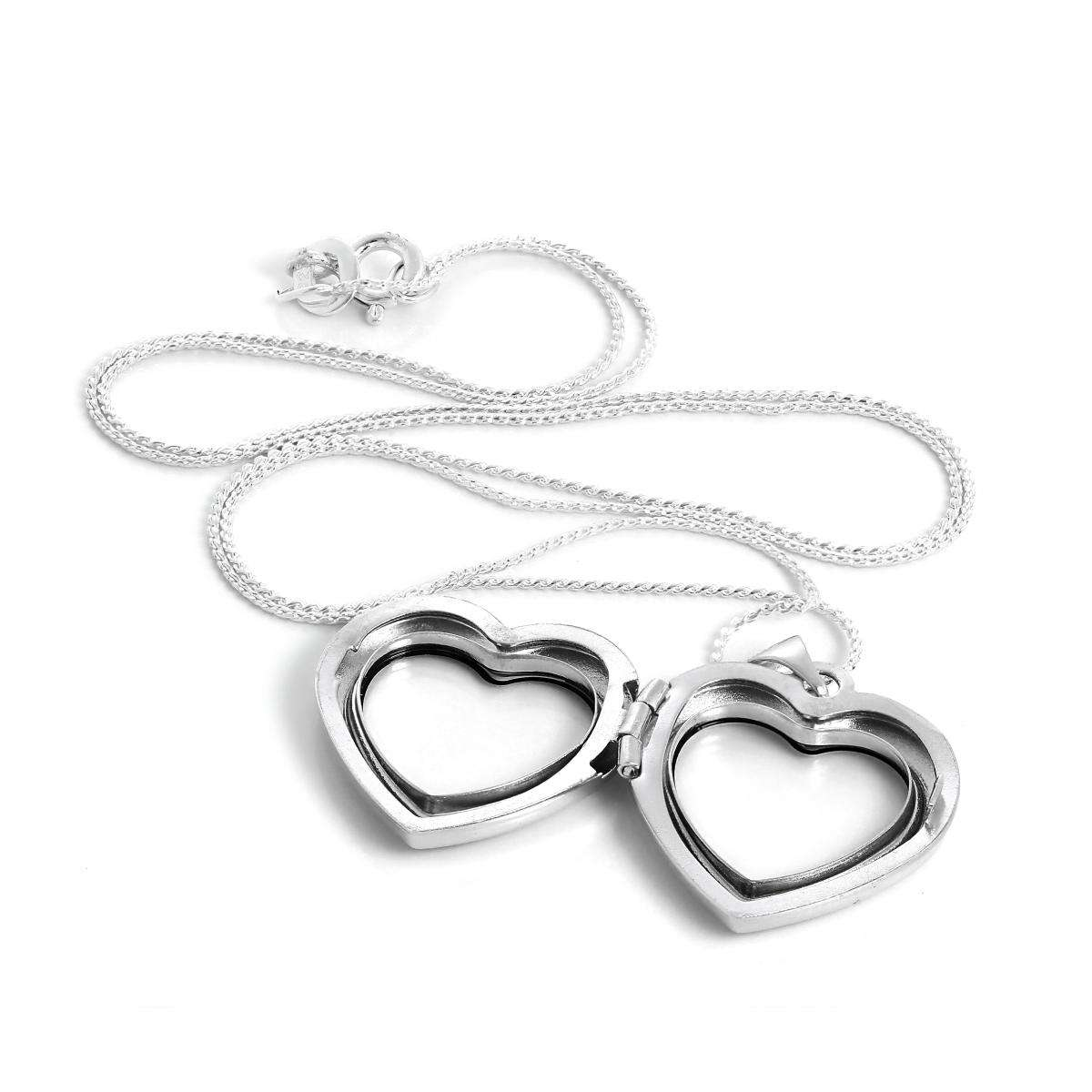 Alterative image for Sterling Silver Heart Shaped Floating Charm Locket Necklace on Chain
