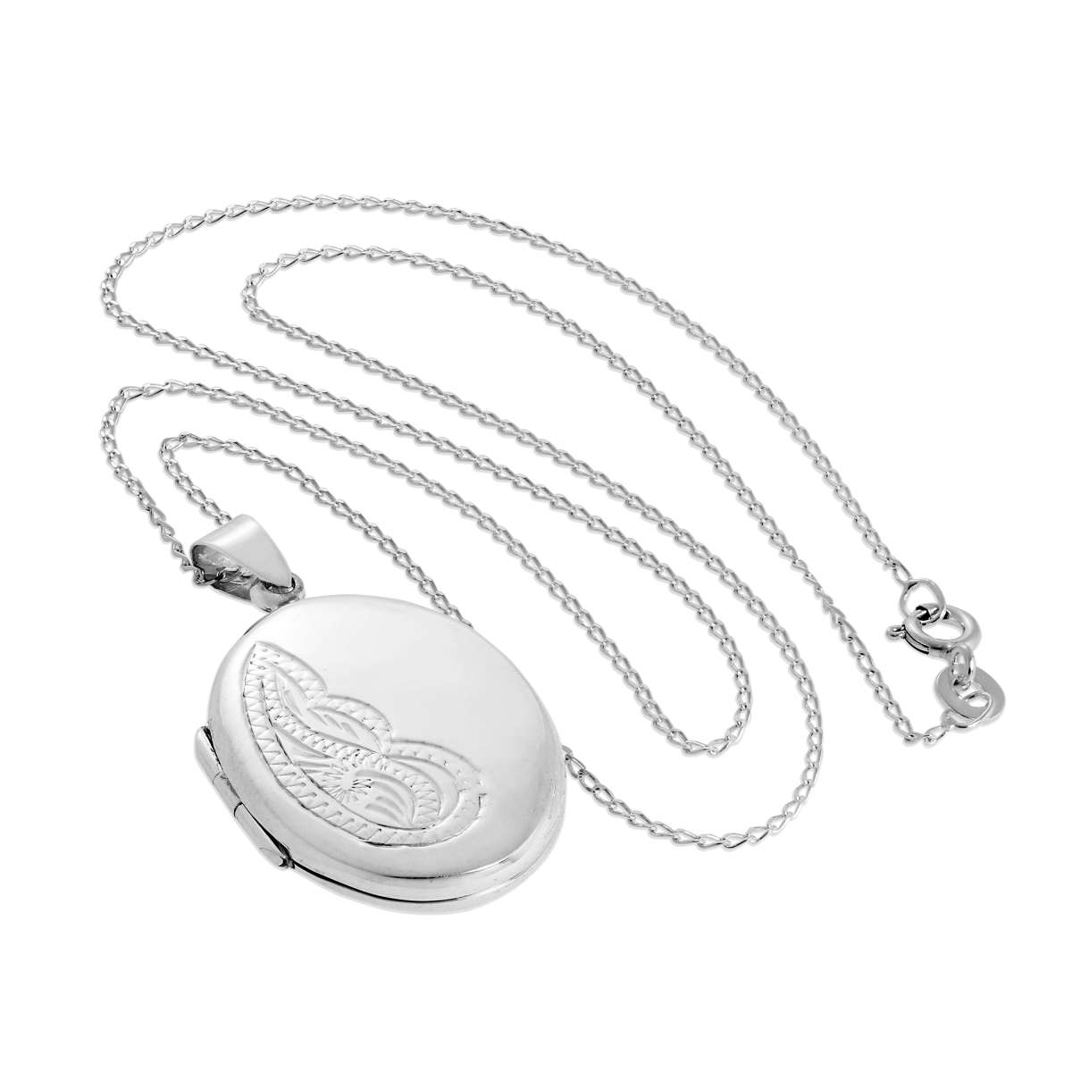 Alterative image for Sterling Silver Large Oval Floral Locket on Chain 14 - 32 Inches