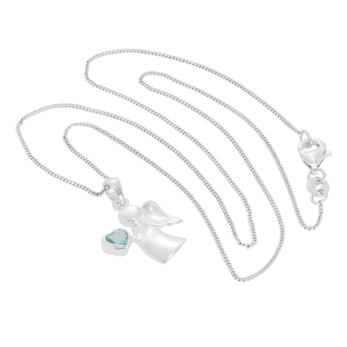 Alterative image for Sterling Silver & Aquamarine CZ Crystal March Birthstone Angel Pendant Necklace 14 - 32 Inches