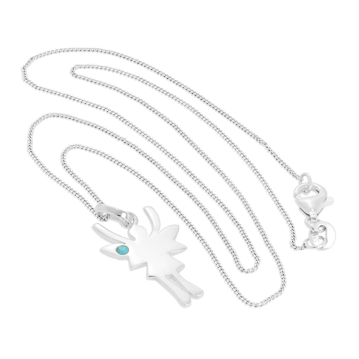 Alterative image for Sterling Silver & Turquoise CZ Crystal December Birthstone Funky Fairy Pendant Necklace 14 - 32 Inches