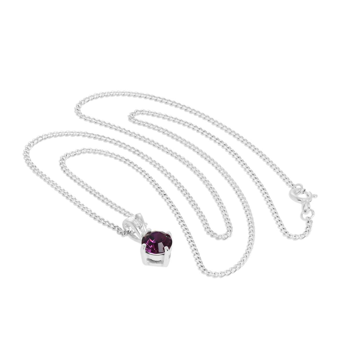 Alterative image for Sterling Silver & Amethyst Crystal Made with Swarovski Elements February Birthstone Pendant Necklace 16 - 24 Inches