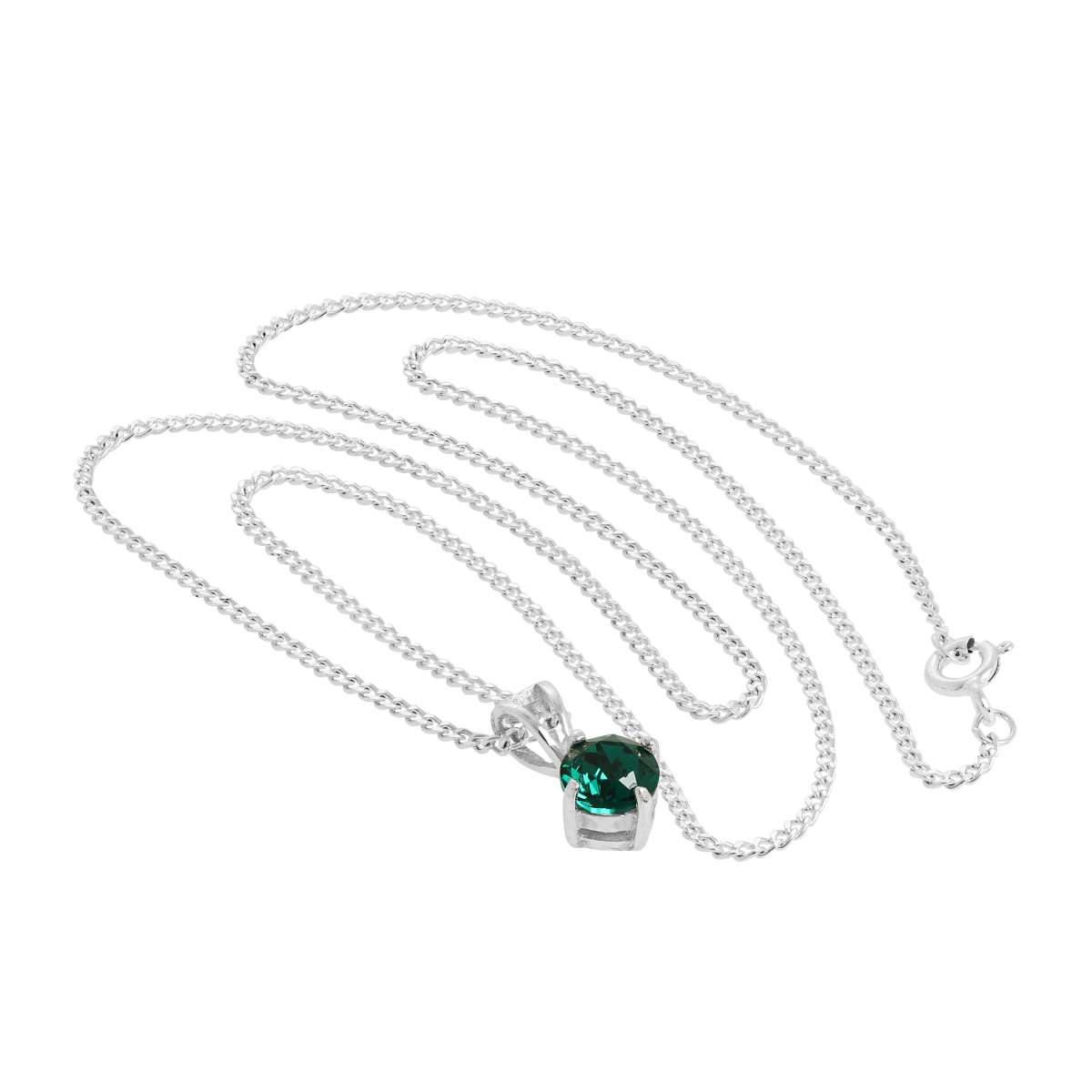 Alterative image for Sterling Silver & Emerald Crystal Made with Swarovski Elements May Birthstone Pendant Necklace 16 - 24 Inches