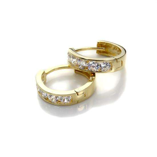 9ct Gold Crystal Set Huggy Creole Hoops