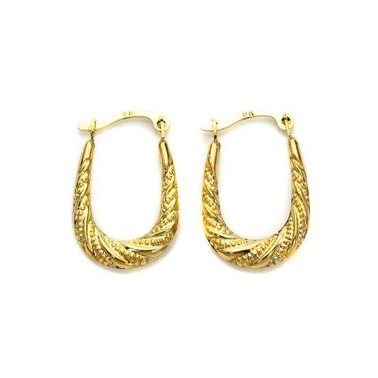 9ct Gold Oval Twisted Creole Hoops