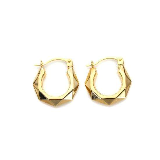 9ct Gold Faceted Creole Hoops