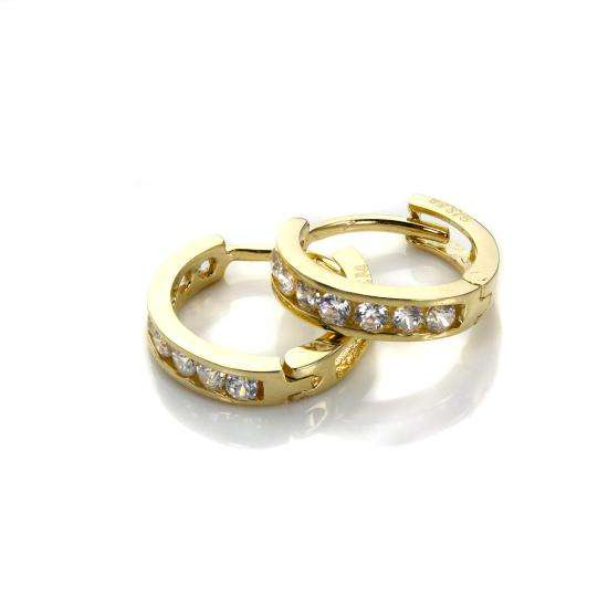 9ct Gold & Crystal CZ Huggy Earrings