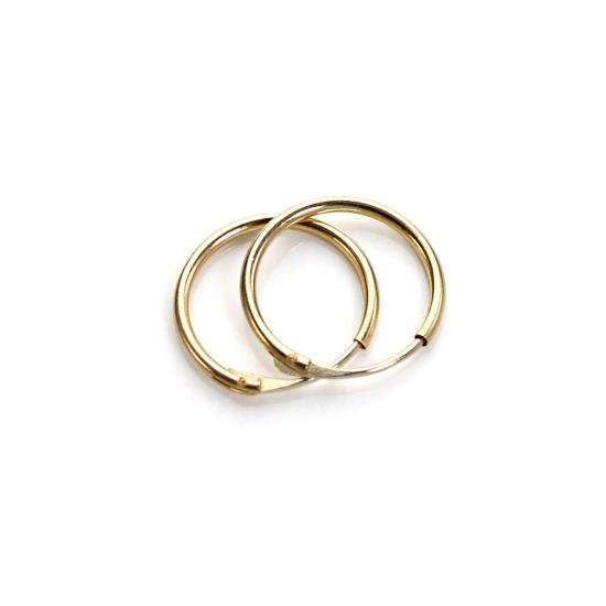 9ct Yellow Gold Plain 10mm Hoop Earrings