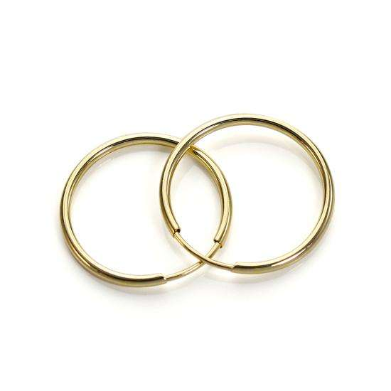 9ct Yellow Gold Plain 16mm Hoop Earrings
