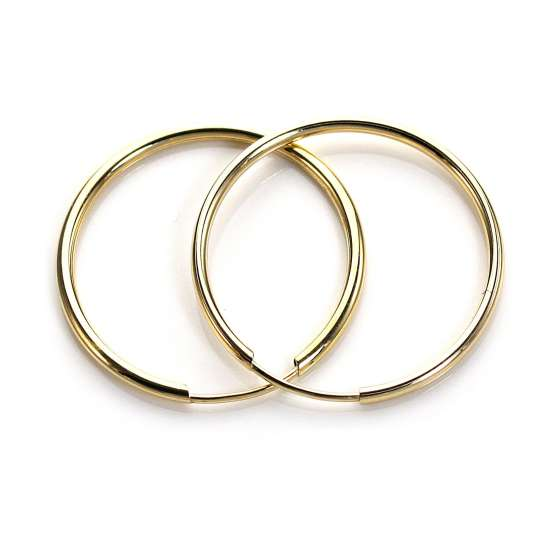 9ct Yellow Gold Plain Medium 20mm Hoop Earrings