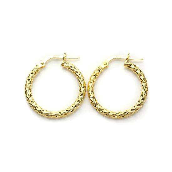 9ct Yellow Gold 15mm Twisted Creole Earrings
