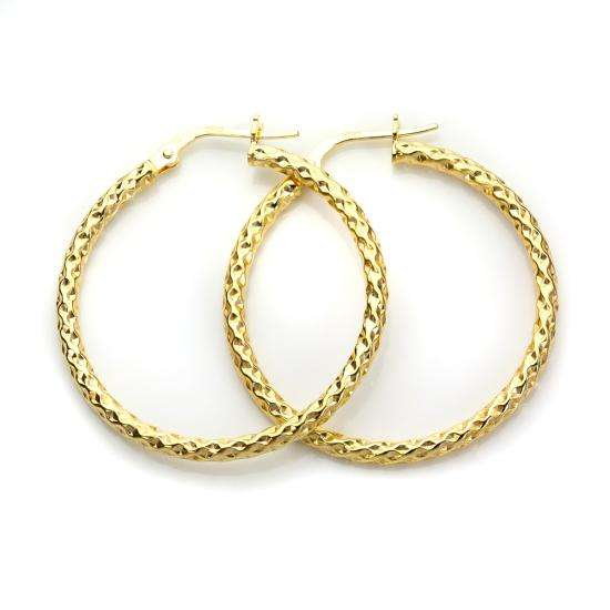 9ct Yellow Gold 25mm Twisted Creole Earrings