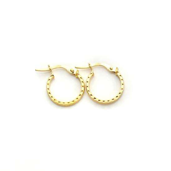 9ct Yellow Gold 12mm Diamond Cut Square Hoop Earrings