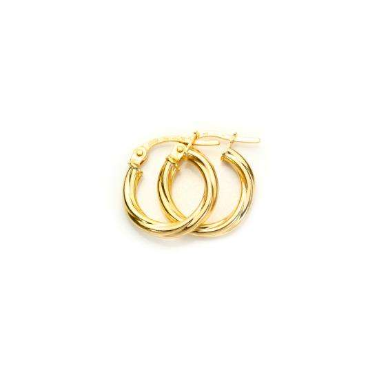 9ct Yellow Gold 10mm Twisted Creole Earrings