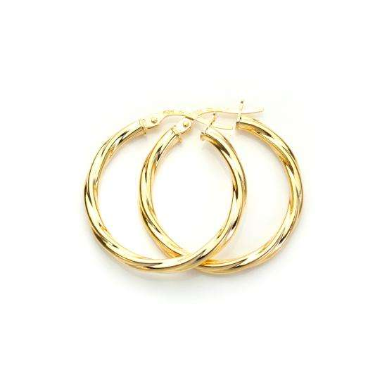 9ct Yellow Gold 20mm Twisted Creole Earrings