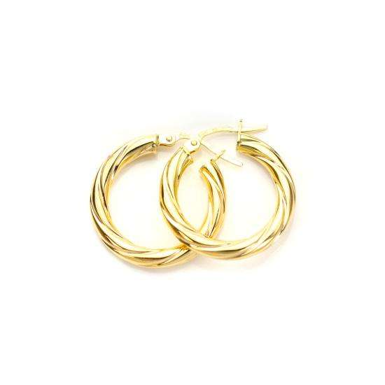 9ct Yellow Gold 15mm Twisted 3mm Creole Earrings