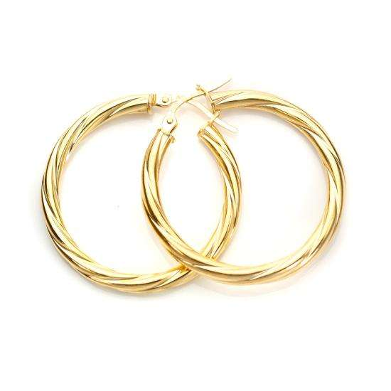 9ct Yellow Gold 25mm Twisted 3mm Creole Earrings
