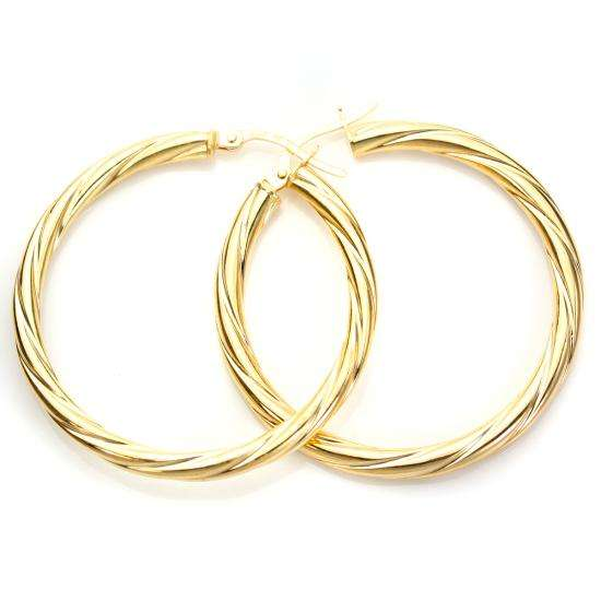 9ct Yellow Gold 30mm Twisted 3mm Creole Earrings