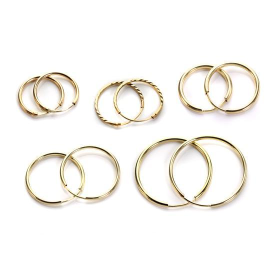 9ct White Gold Plain 10mm - 20mm Hoop Sleeper Hoops / Sleepers / Earrings