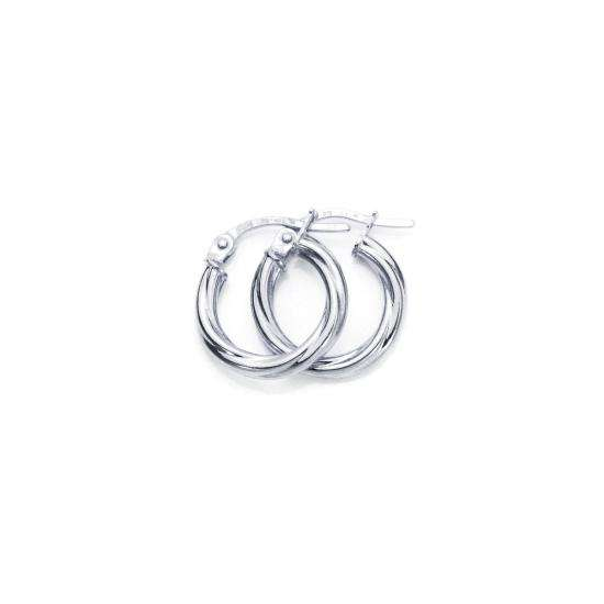 9ct White Gold 10mm Twisted 2mm Creole Earrings