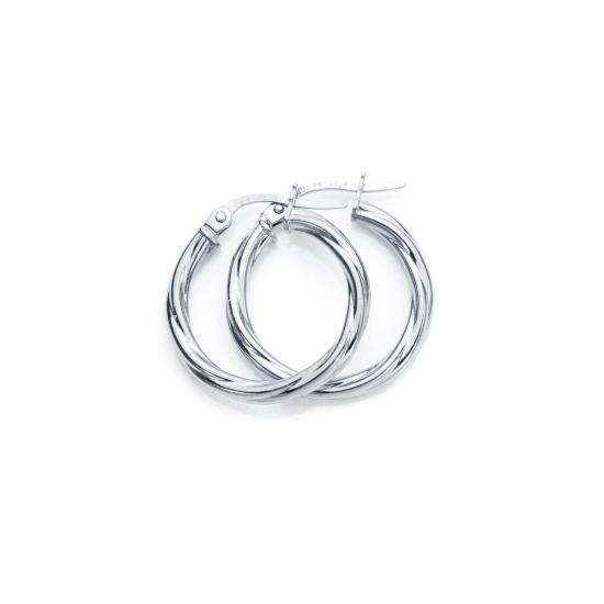 9ct White Gold 15mm Twisted 2mm Creole Earrings