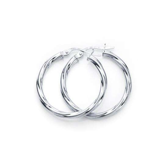 9ct White Gold 20mm Twisted 2mm Creole Earrings