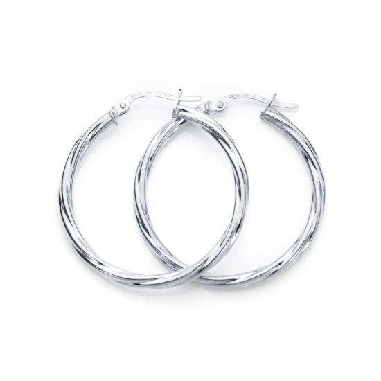 9ct White Gold 25mm Twisted 2mm Creole Earrings